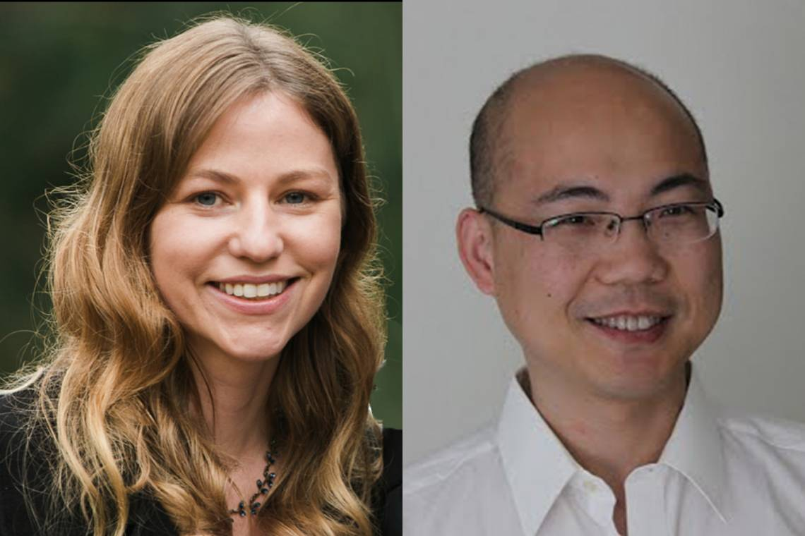 Side-by-side portraits of Duke faculty Emily Derbyshire and Huanghe Yang