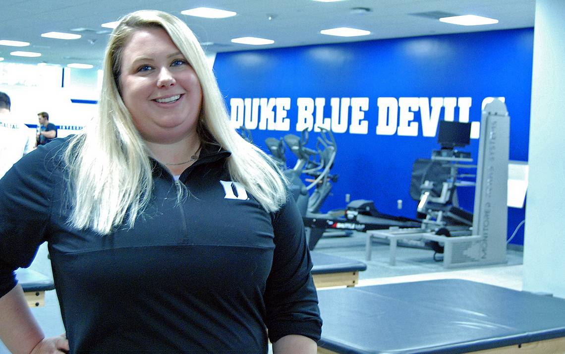 Assistant Director of Athletic Medicine Devin Demyanovich helps keep Duke's athletes healthy. Photo by Stephen Schramm.