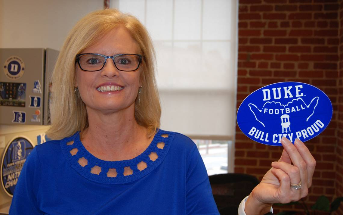 Donna Flamion, the 2019 Honorary Employee Captain for the Duke Football Employee Kickoff, wears her Duke fandom proudly. Photo by Stephen Schramm.