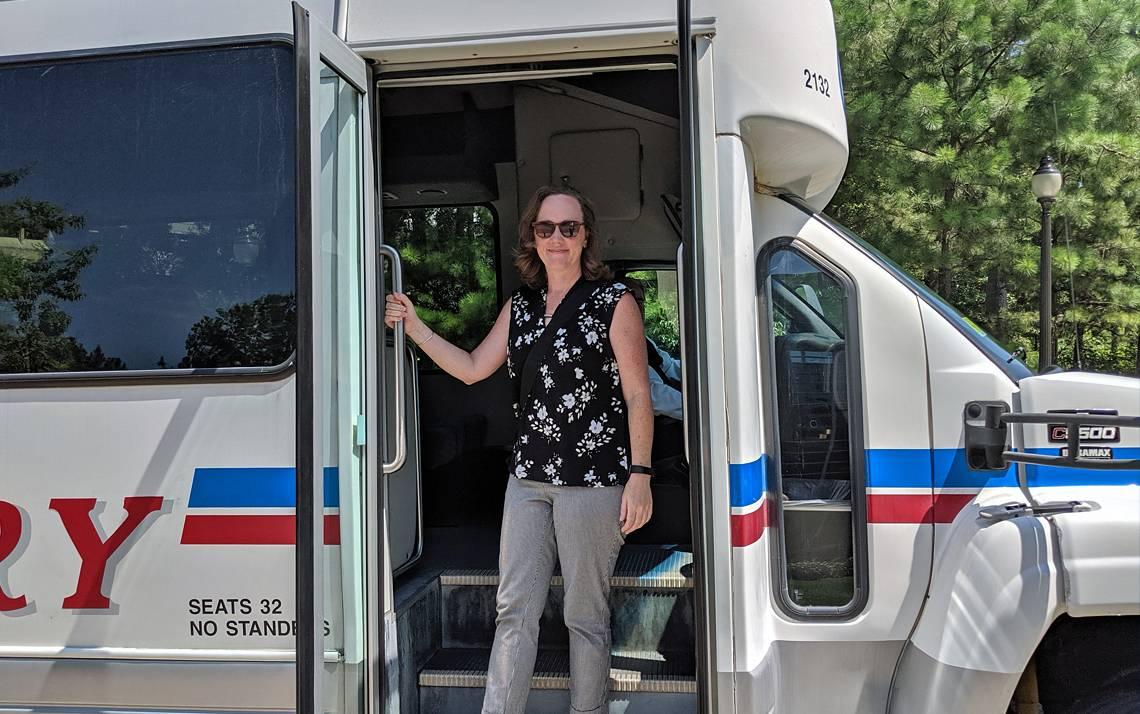 Katie Kilroy rides Duke's downtown shuttle to the Duke Farmers Market. Photo courtesy of Katie Kilroy.
