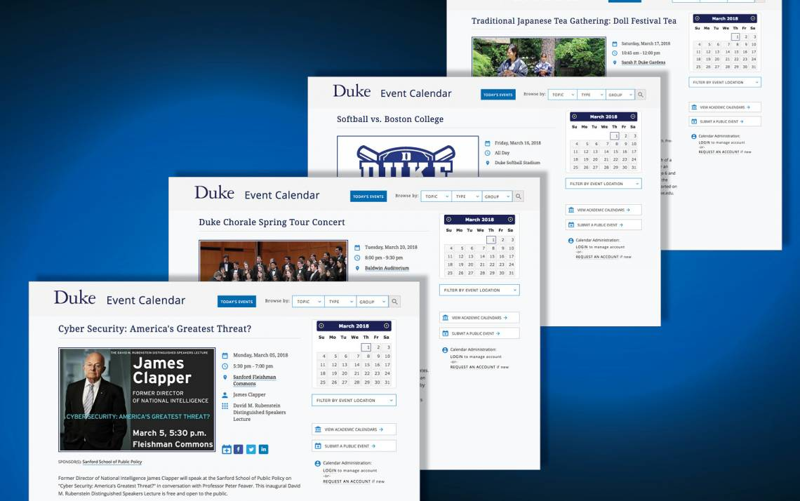 Pages showcasing events on the Duke Event Calendar.