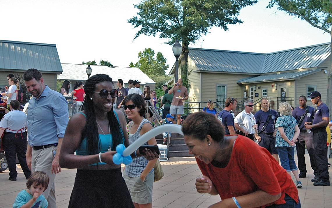 Community members enjoy last year's National Night Out event hosted by the Duke University Police Department.