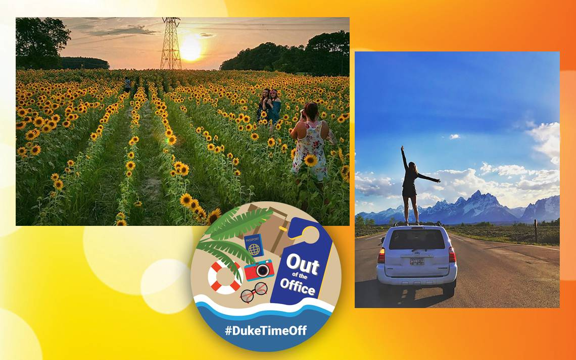 The winning photos from the #DukeTimeOff photo contest feature a field of sunflowers and a woman on a car.