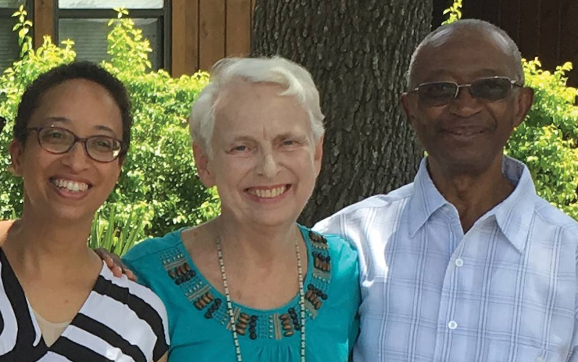 Tsitsi Jaji, left, with her parents, Gail and Lazarus Jaji. Photo courtesy of Tsitsi Jaji
