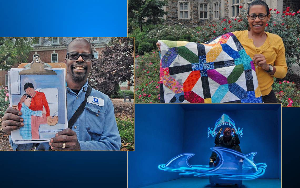 Duke employees Jimmie Banks, left, Beky Branagan, top right, and Jessi Cruger, bottom right, have found creative ways to express themselves.