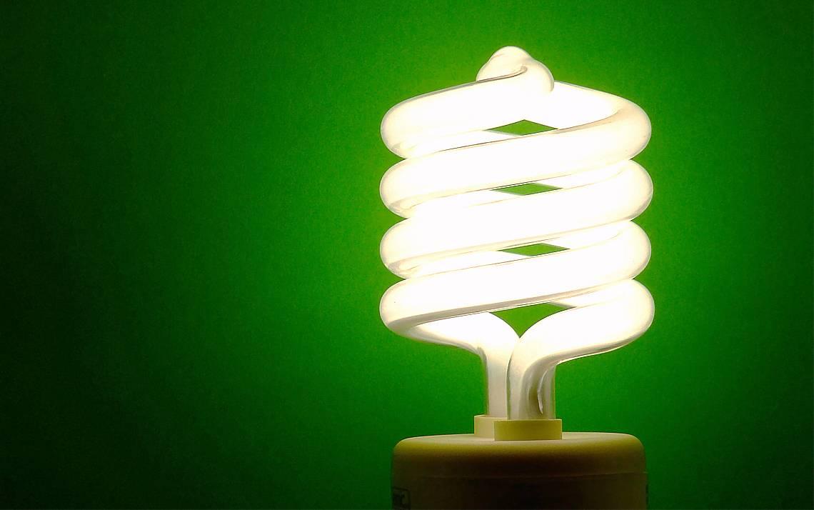 A lightbulb against a green backdrop.
