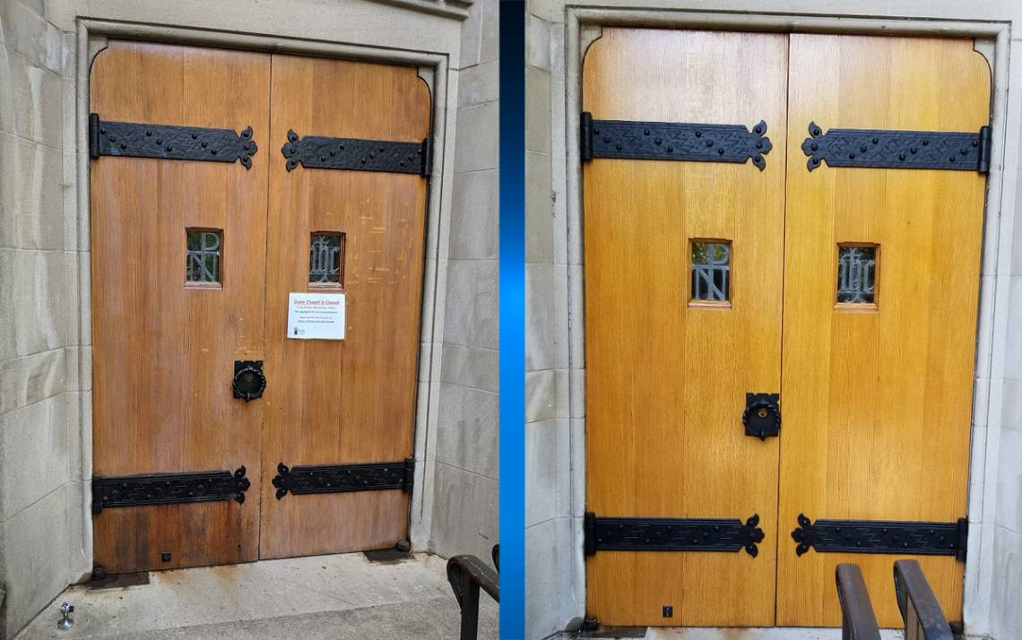 At left, doors of Duke university Chapel before this summer's renovation project. At right, the doors after the work was completed. Photos courtesy of Duke Facilities Management.