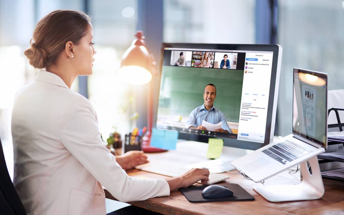 Having good posture, expressing yourself using facial features and making eye contact can help communications with colleagues during virtual meetings. Photo courtesy of Zoom.