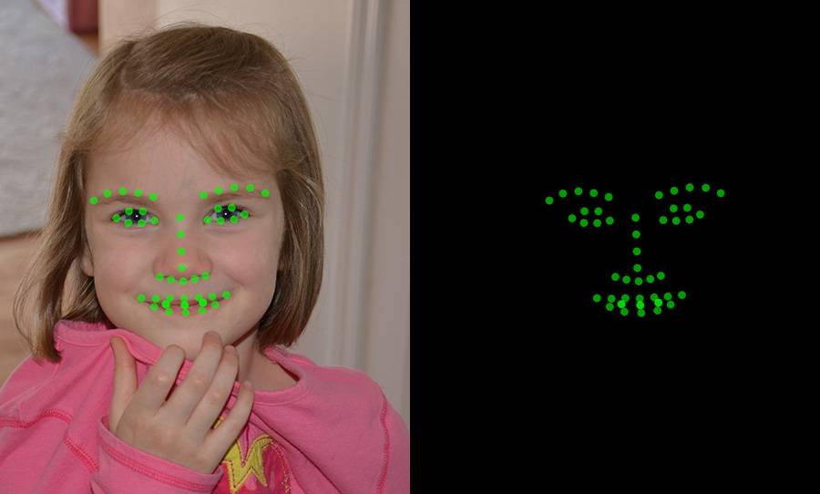 One the left, a picture of the child; on the right, green dots showing the points on the face that the software detects