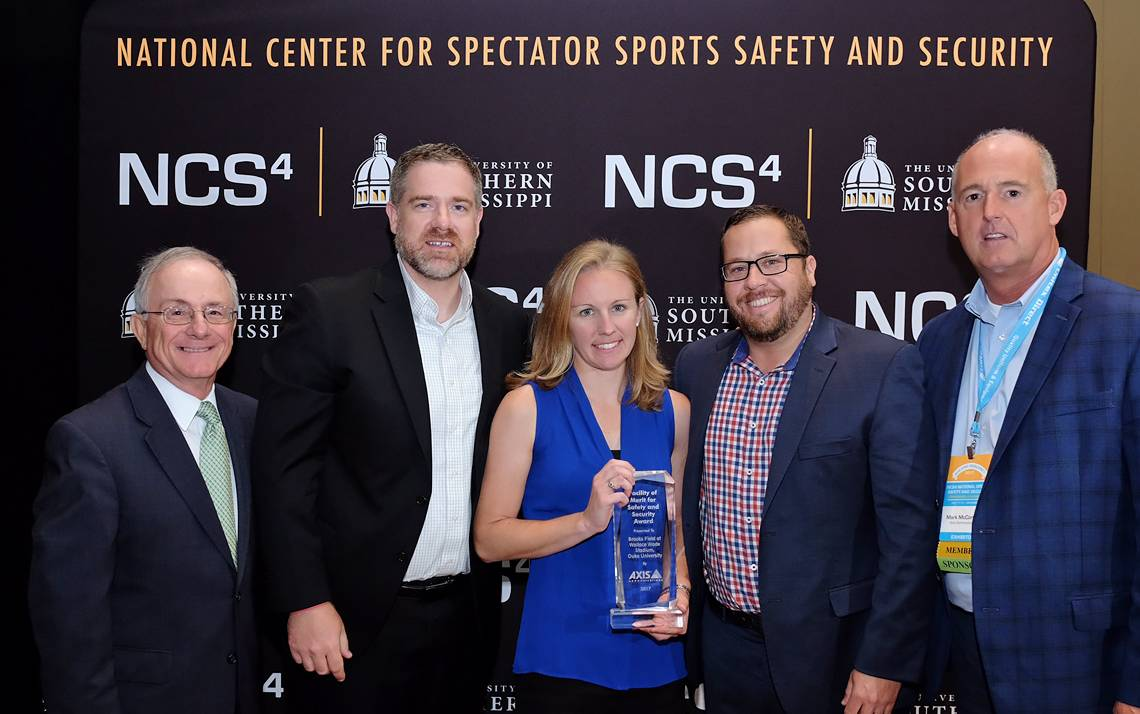 From left: Director of the Center for Spectator Sports Security Lou Marciani, Duke Director of Athletic Facilities Ryan Cakerice, Duke Associate Director of Athletic Facilities Rebecca Wilusz, Duke Associate Athletic Director Bob Weiseman and National Sal