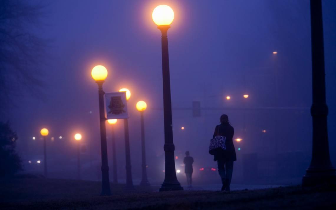 A foggy night scene.