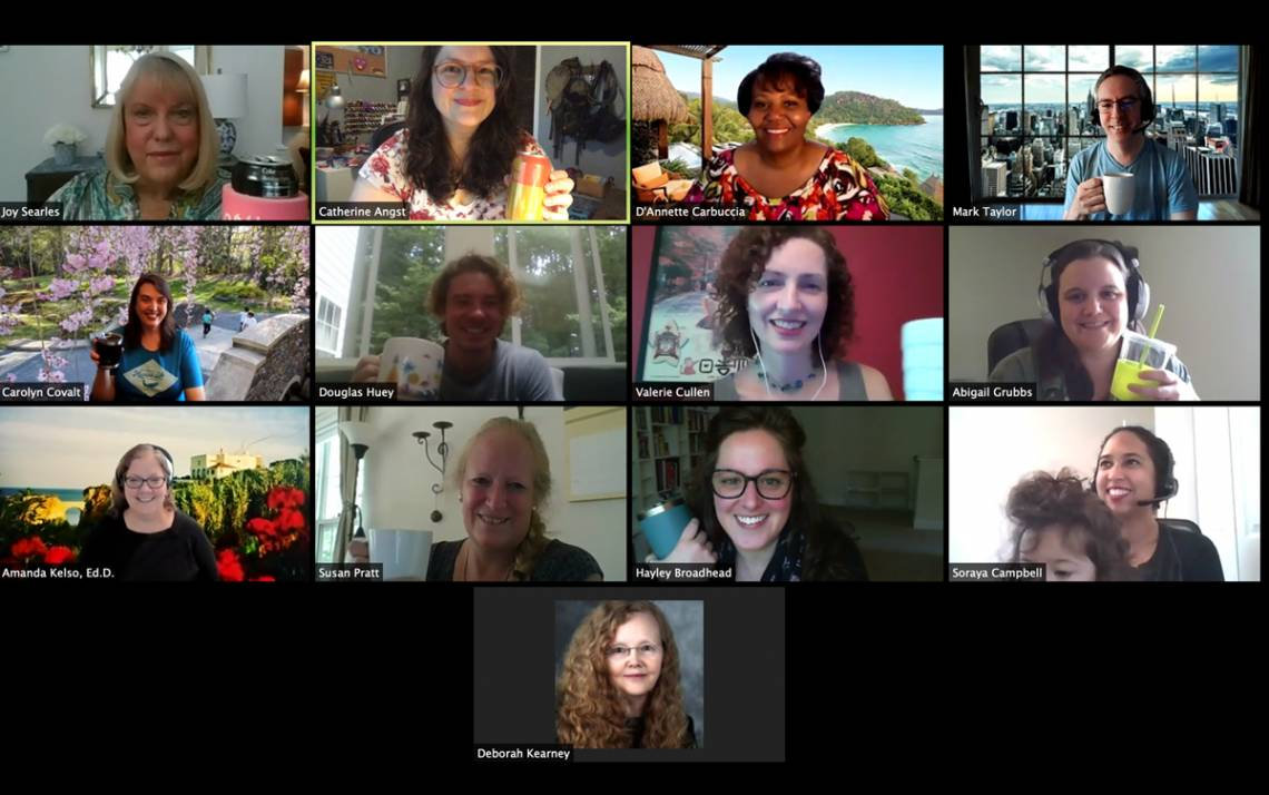 Staff with the Duke Global Education office chat during a virtual coffee break. Photo courtesy of Catherine Angst.