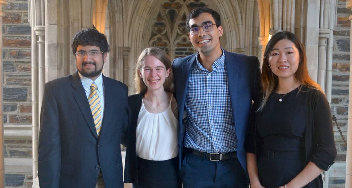 2019 Goldwater Scholars: Kunal Shroff, Jill Jones, Azim Dharani, and Caroline Wang