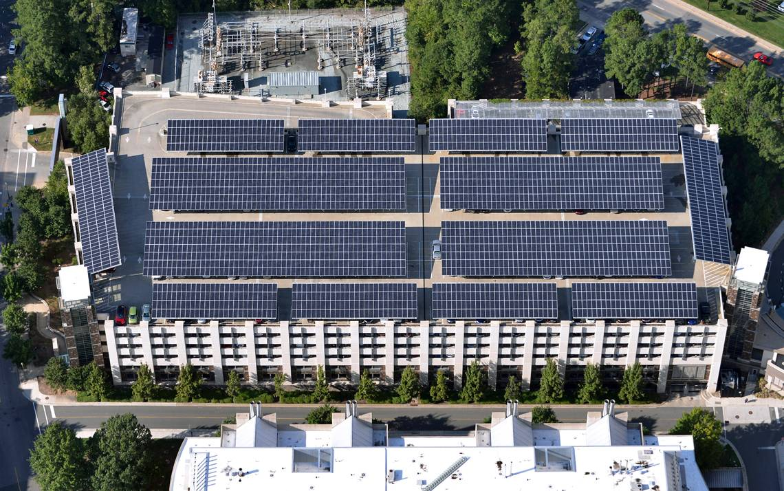 The 2,554 solar panels sit atop Research Drive Parking Garage. Photo by Duke Facilities Management.