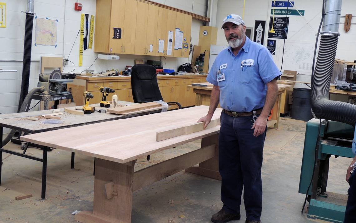 Andy O'Shea built a table from a campus tree. The table was placed in Duke's Smart Home. Photo by Sarah Burdick
