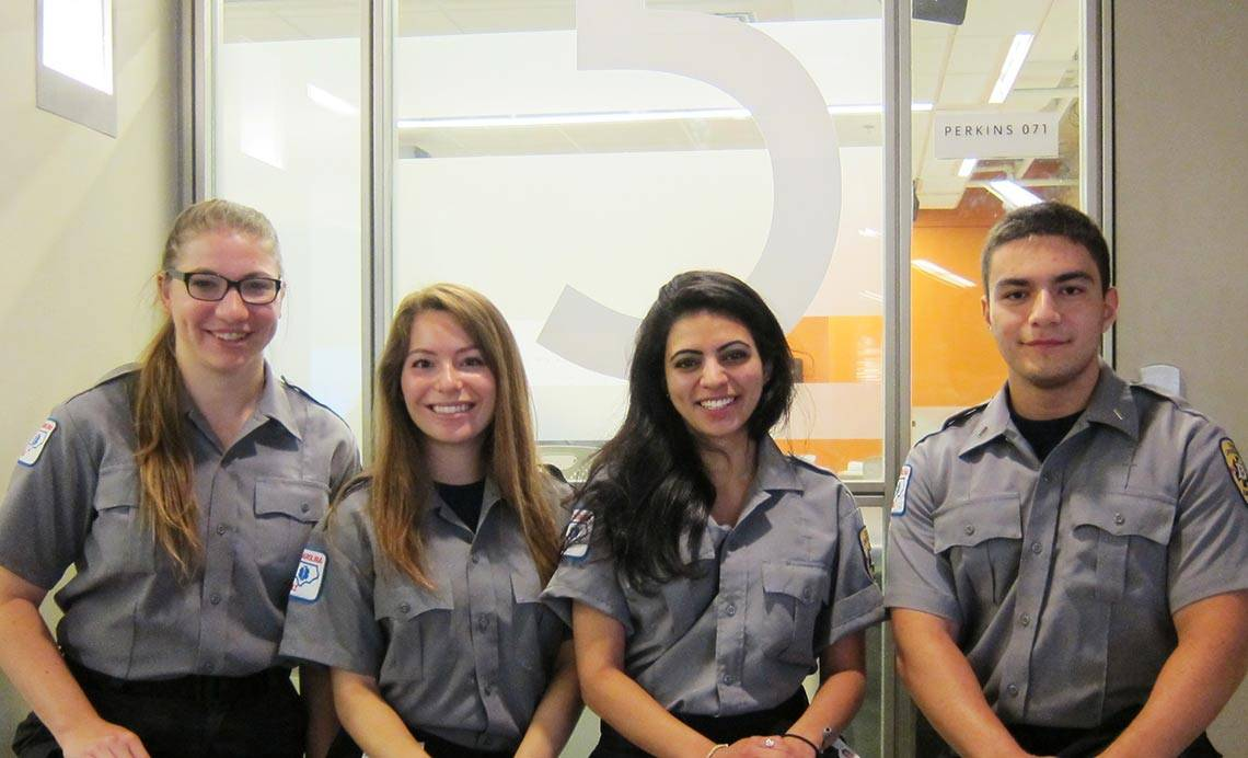 The four Duke EMS students who resuscitated Professor George Grody from cardiac arrest include, from left to right: Kristen Bailey, Kirsten Bonawitz, Ritika Patil, and Kevin Labagnara.