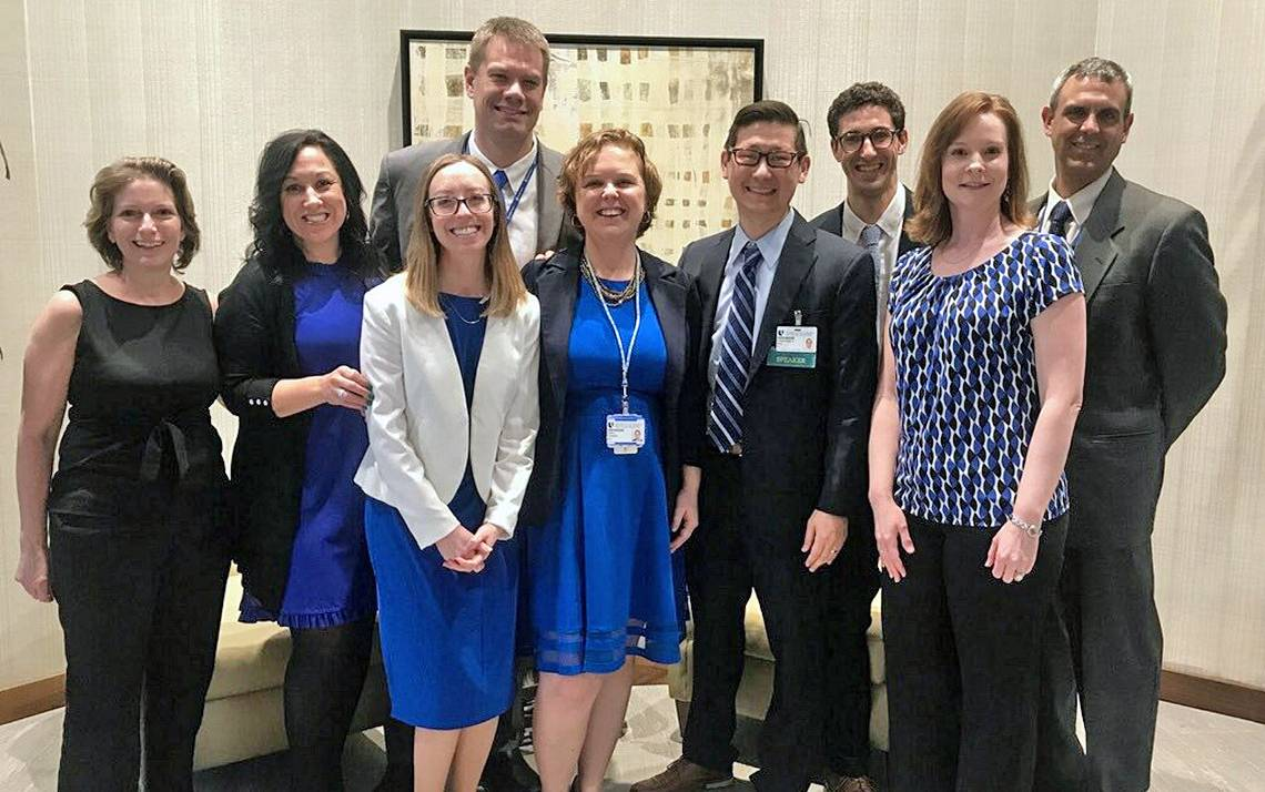 Left to right: Duke Center for Healthcare Safety and Quality employees Cindy Gordon, Christen Noratel, Carrie Adair, Kyle Rehder, Erin Eckert, Jon Bae, Matthew Ryan, Julie Ferrell and Aaron West attend the 2019 Duke Health Quality and Safety Conference.