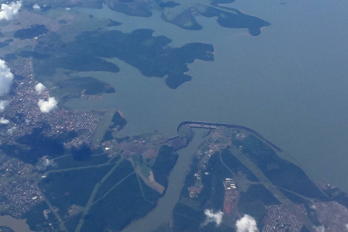 Aerial view of Itaipú Binational Dam, located on the border of Paraguay and Brazil.