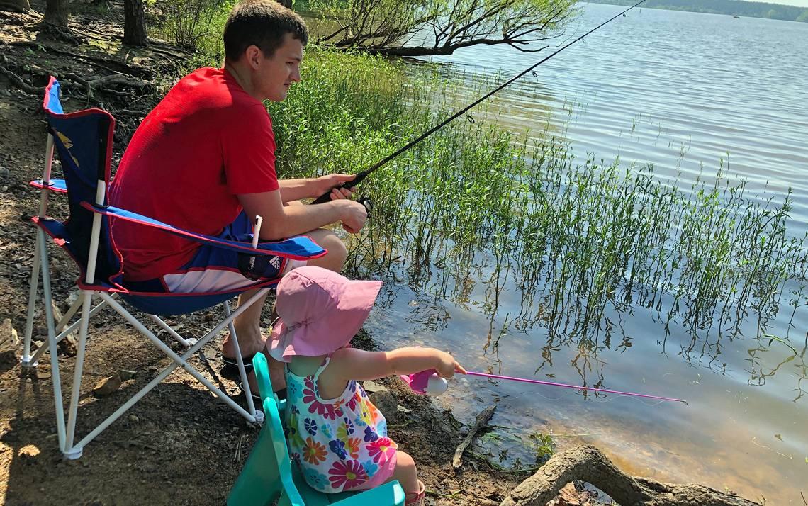 Duke Regional Hospital's Jake Hollenbeck fishes alongside his daughter, Gwennie Mae.