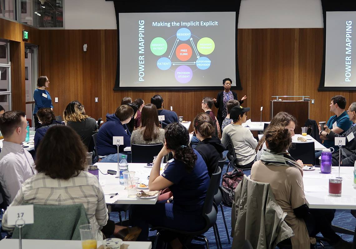Lamercie Saint Hilaire leads a workshop on unconscious bias and approaches to allyship. (Photo: Kathy Neal)