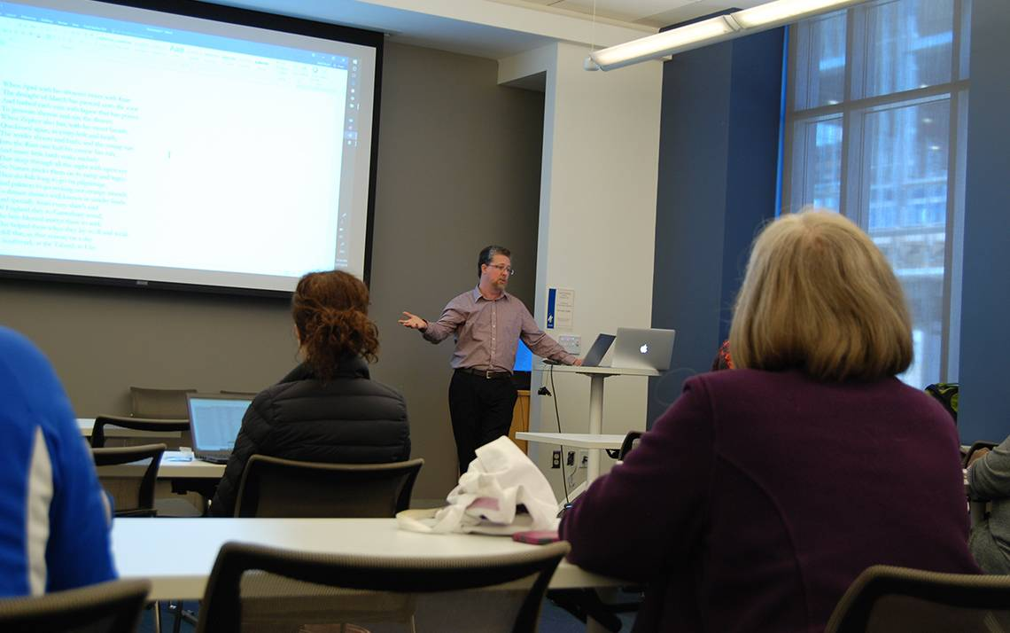Matt Royal of Duke's Office of Information Technology presents at a recent Learn IT @ Lunch workshop. Photo by Stephen Schramm.