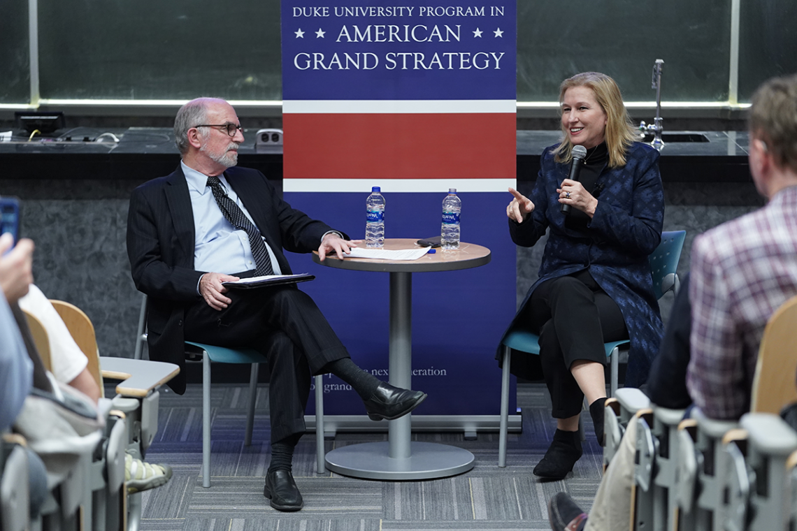Former Israeli Foreign Minister Tzipi Livni takes questions from Professor Bruce Jentleson during a conversation on the Middle East.