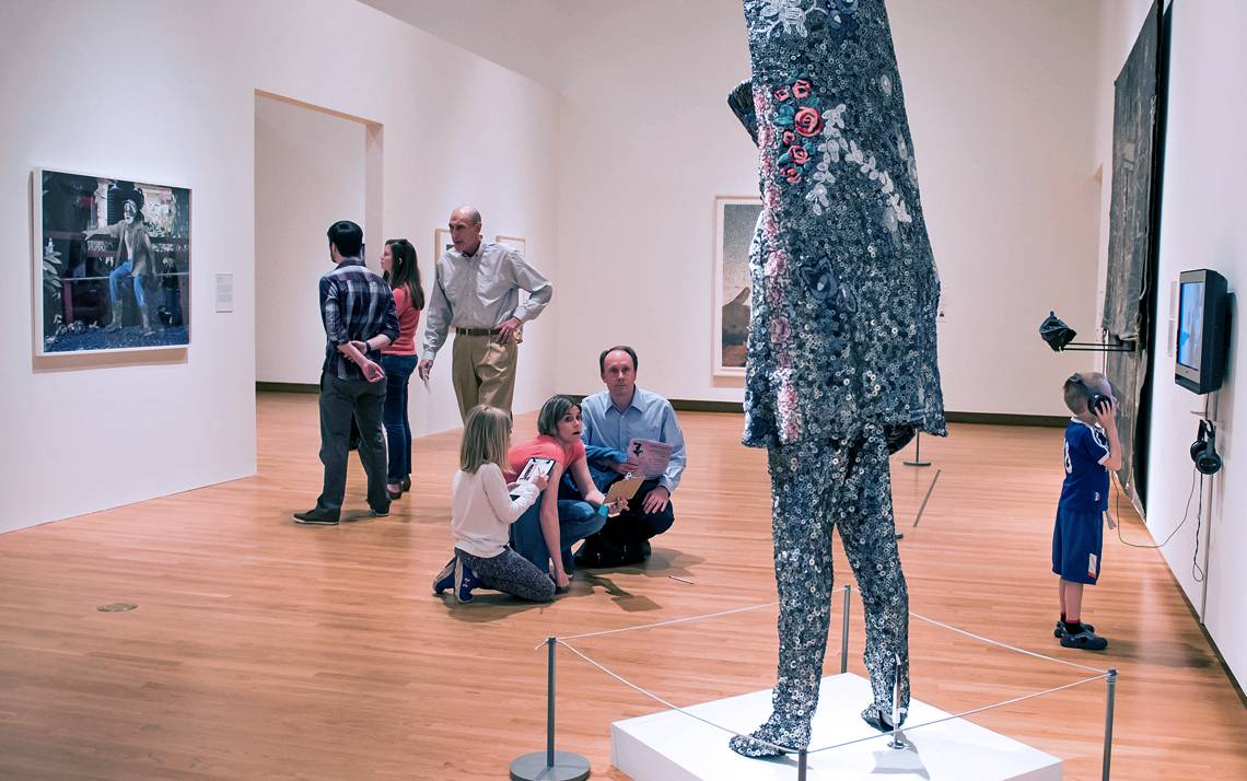 Visitors check out an exhibition at the Nasher Museum of Art. Photo courtesy of the Nasher Museum of Art.