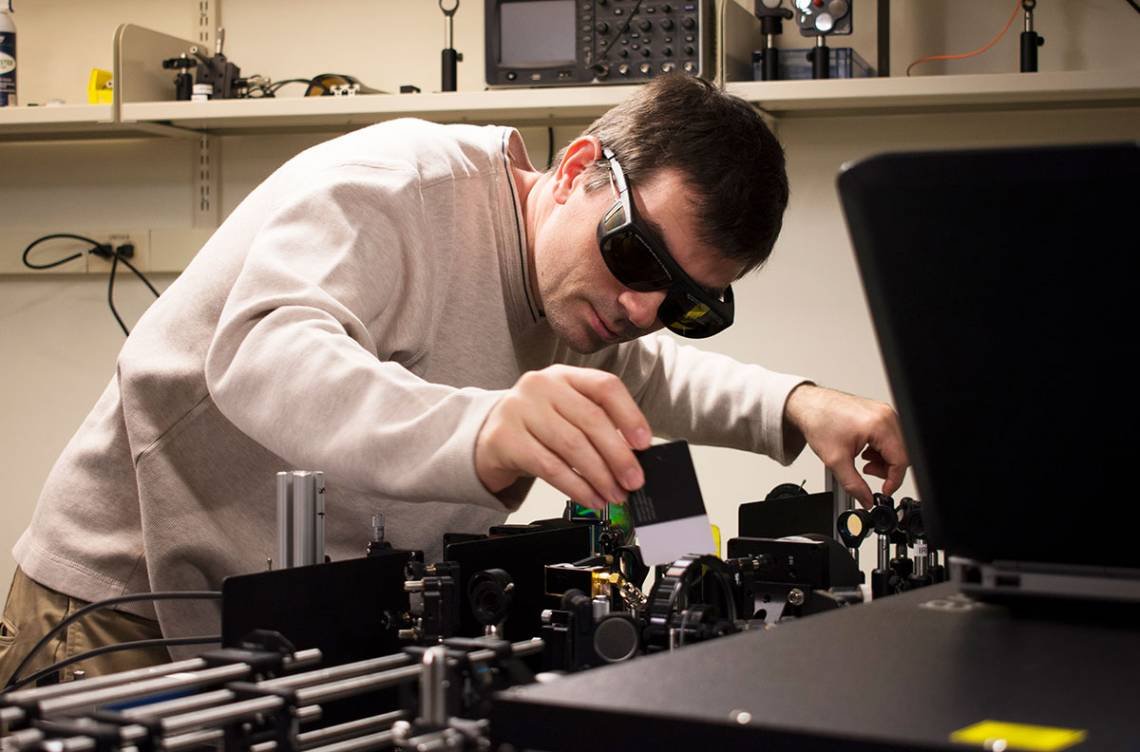 Martin Fischer working in the Advanced Light Imaging and Spectroscopy facility. Photo by Mike Truell