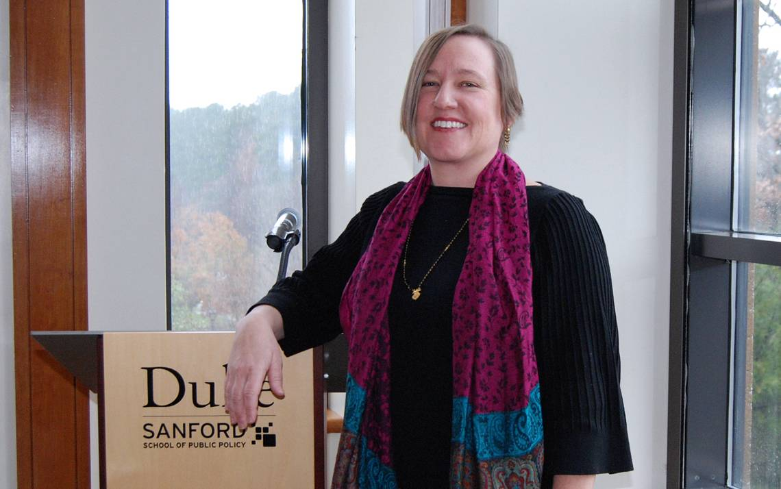 Mary Lindsley, Communications and Events Manager, Sanford School of Public Policy, plays a vital role in helping bring notable speakers to the school. Photo by Stephen Schramm.