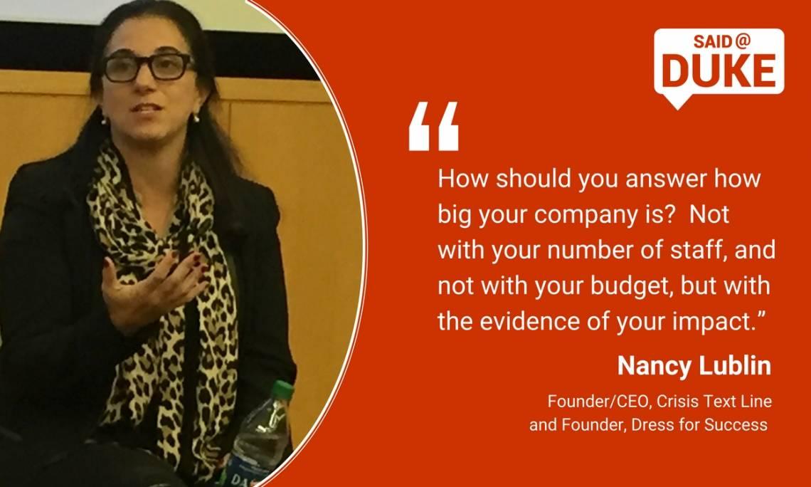 Nancy Lublin: measuring the impact of social entrepreneurship