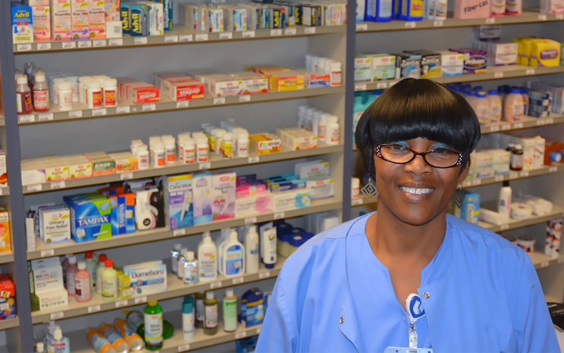 Nettie Allen, cashier, Outpatient Pharmacy at Duke Clinic. Photo by Beth Hatcher.