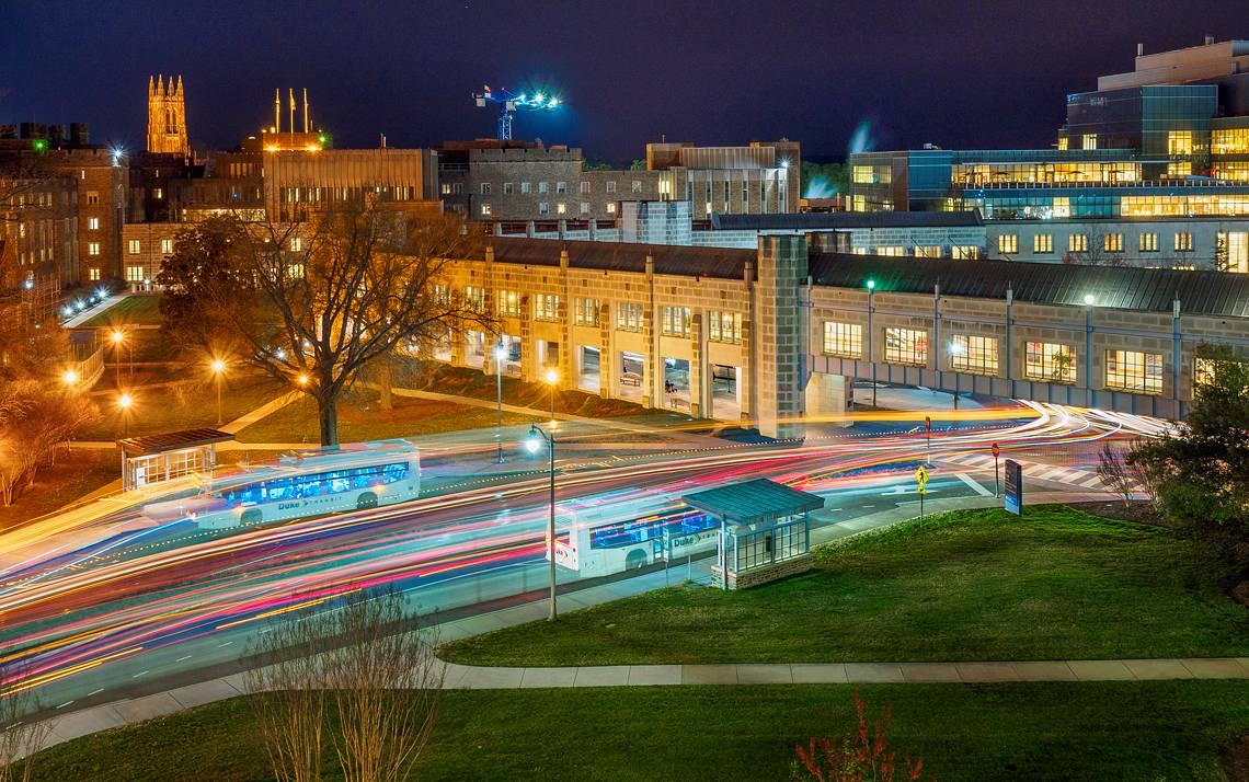Traffic on Duke's campus at night.
