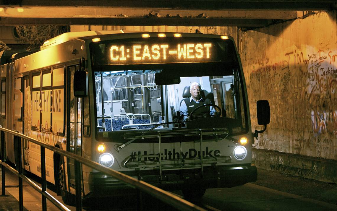 Duke bus driver William Hester pilots the C1 East-West bus through campus.
