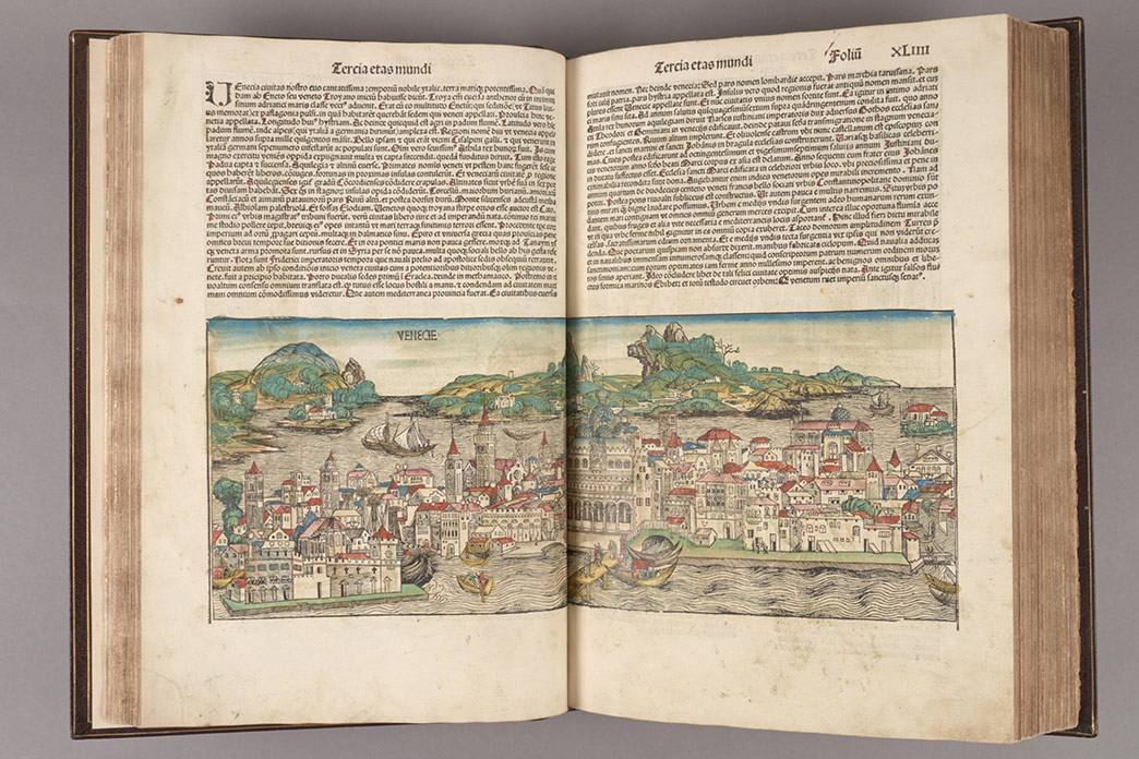 The Nuremberg Chronicle, from the Rubenstein Library, is on display at the NC Museum of Art.