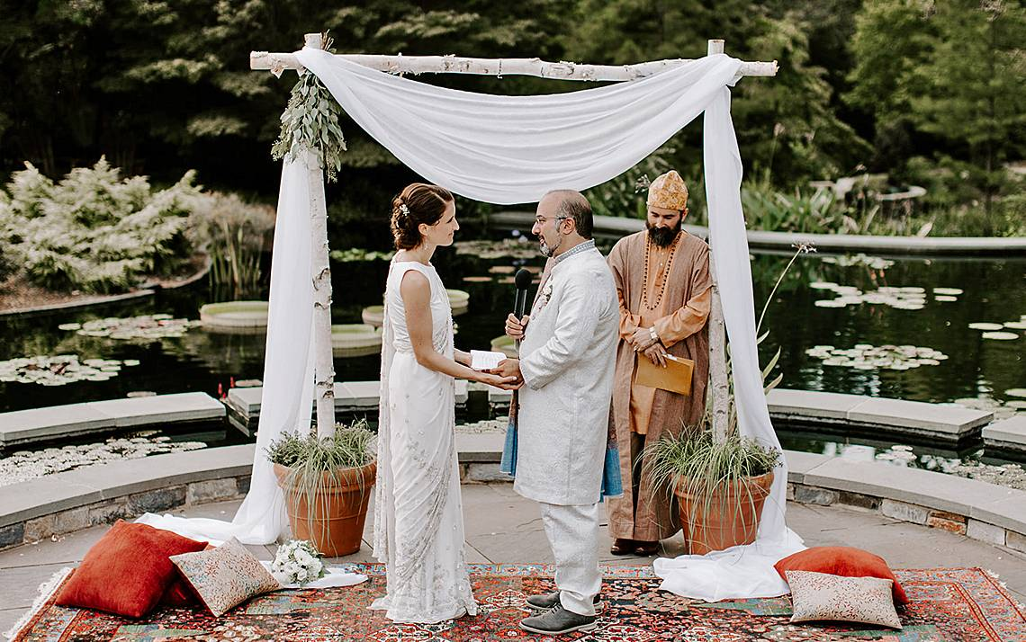 Omid Safi, right, director of the Duke Islamic Studies Center, married his wife, Corina, at the Sarah P. Duke Gardens. Photo courtesy of Omid Safi.