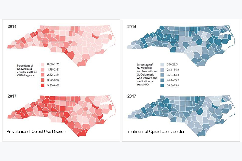 North Carolina county map showing percentages of Medicaid recipients with a diagnosis of opioid addiction and those receiving treatment. (Duke-Margolis Center for Health Policy)