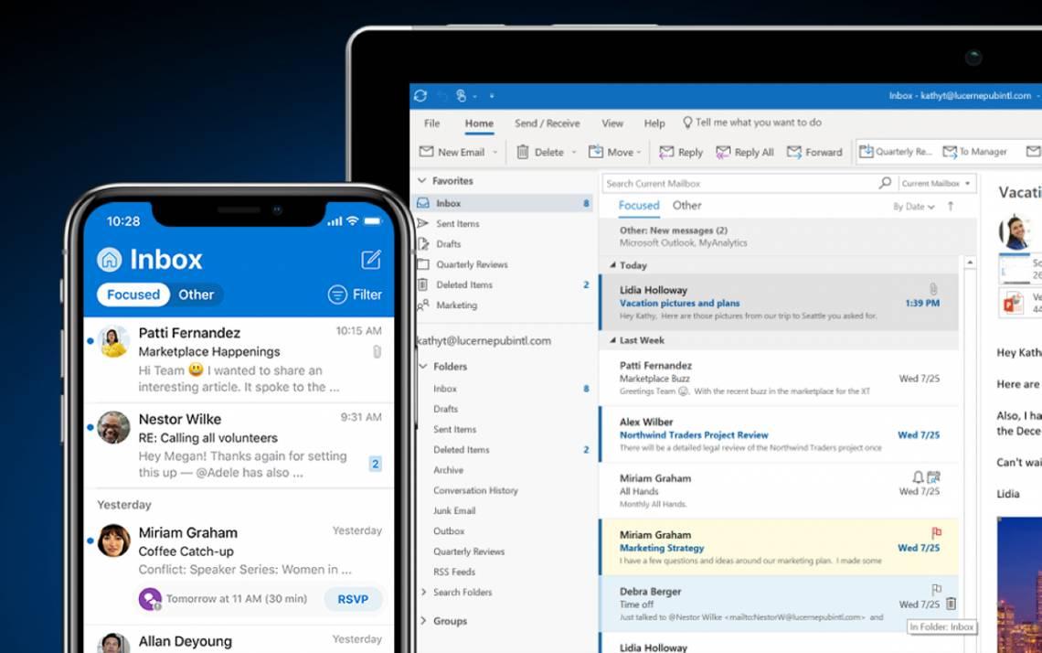 Microsoft Outlook screens.