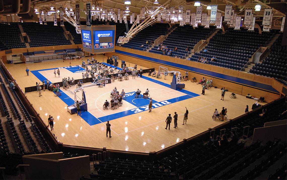 Valor Games Southeast brought wheelchair basketball and rowing competitions to Cameron Indoor Stadium on Wednesday. Photo by Stephen Schramm.