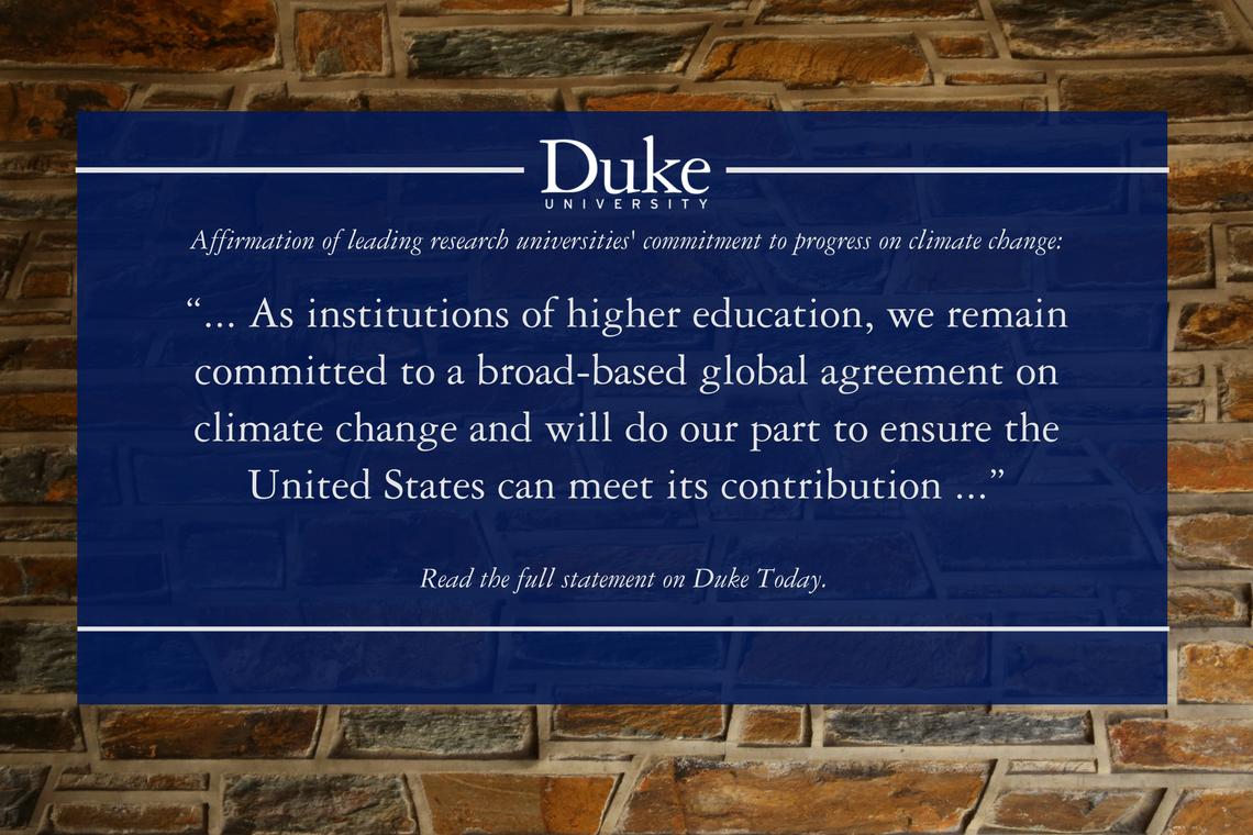 Duke, peers issue statement on Paris Agreement