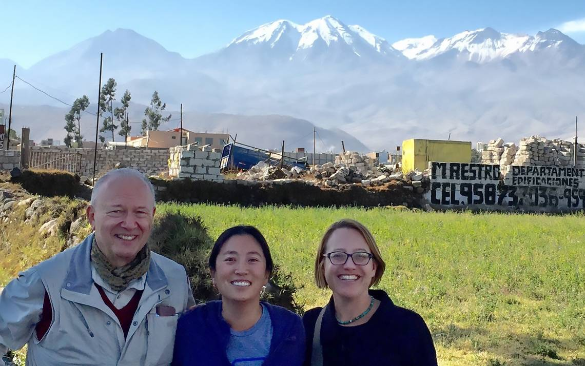 From left to right, Francis Lethem with the Duke Center for International Development, Allison Besch with the Nicholas School of the Environment and Elizabeth Shapiro-Garza with the Nicholas School traveled to Arequipa, Peru, in July of 2015.
