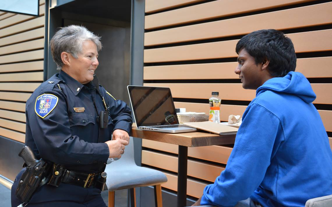 Duke Police Lt. Cindi Wood talked with first-year student Ashwin Mahendra in the West Union.