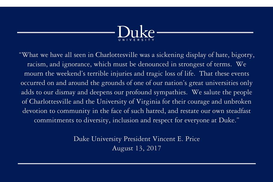 A statement from President Price