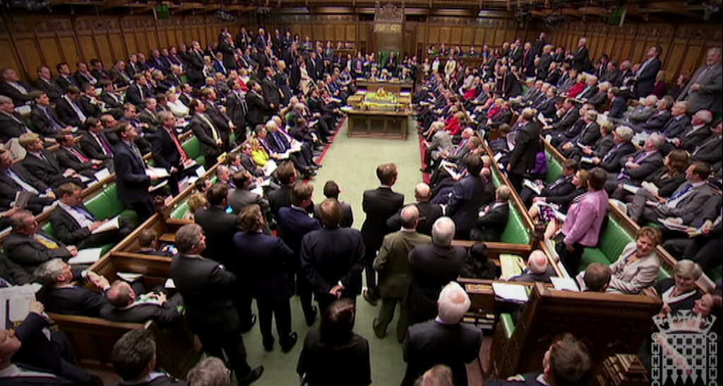 The British Parliament in session. Photo courtesy Wikimedia Commons.