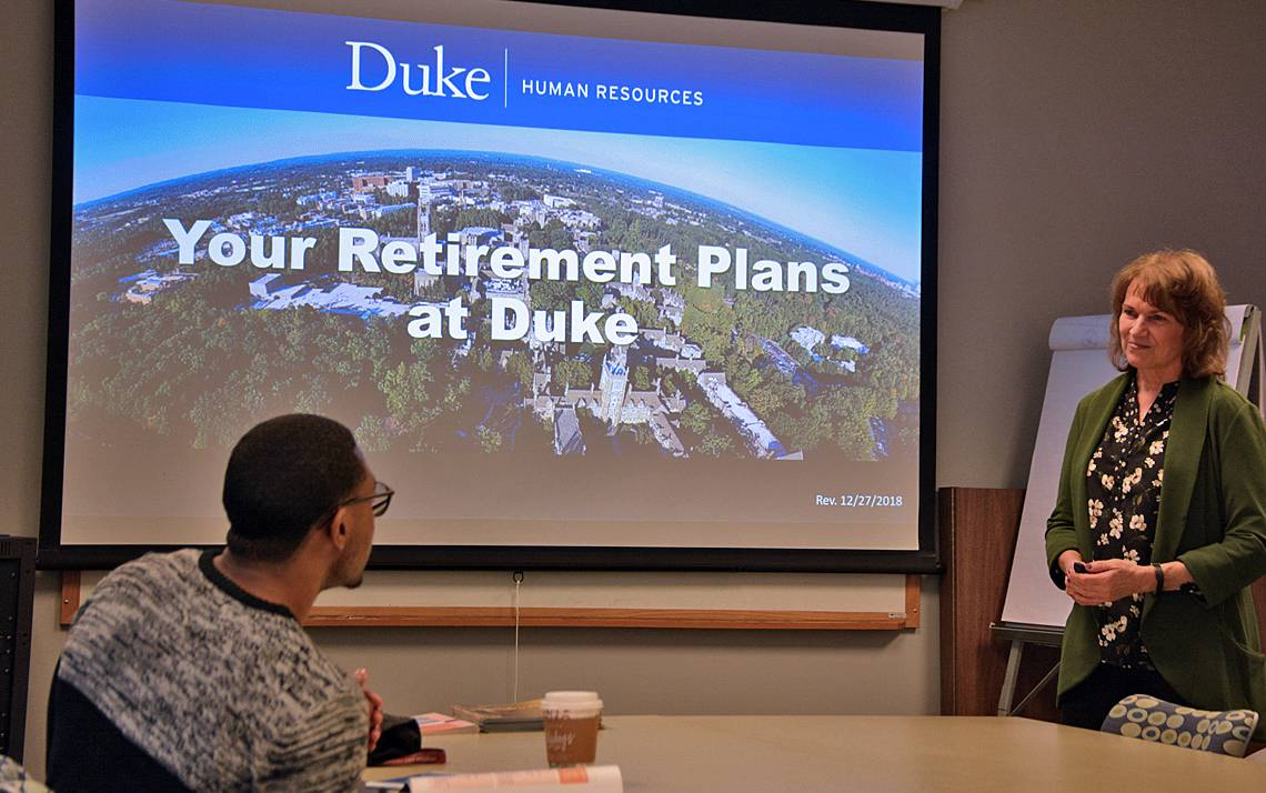 Sara Howe, right, leads a Retirement Plans Overview seminar in January. Photo by Jonathan Black.