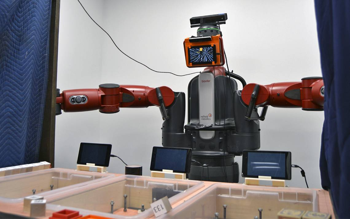 This robot, used in the Humans and Autonomy Lab, is one of several research efforts related to human-robot interaction.