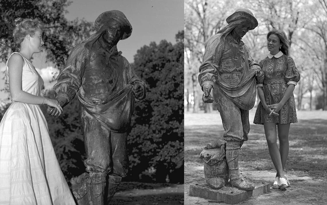 The Sower statue on East Campus has a history as one of Duke's romantic spots. Photo courtesy of Duke University Archives.