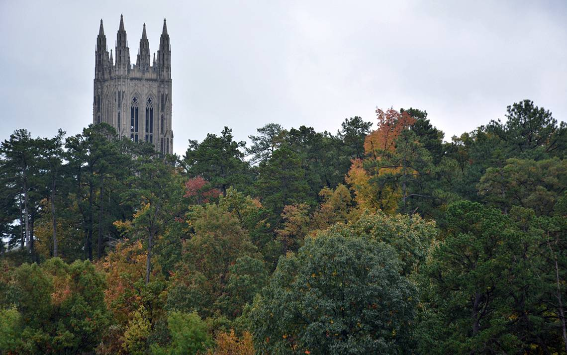 The spires of Duke University Chapel can be seen from the rooftop of Grainger Hall. Photo by Jonathan Black.