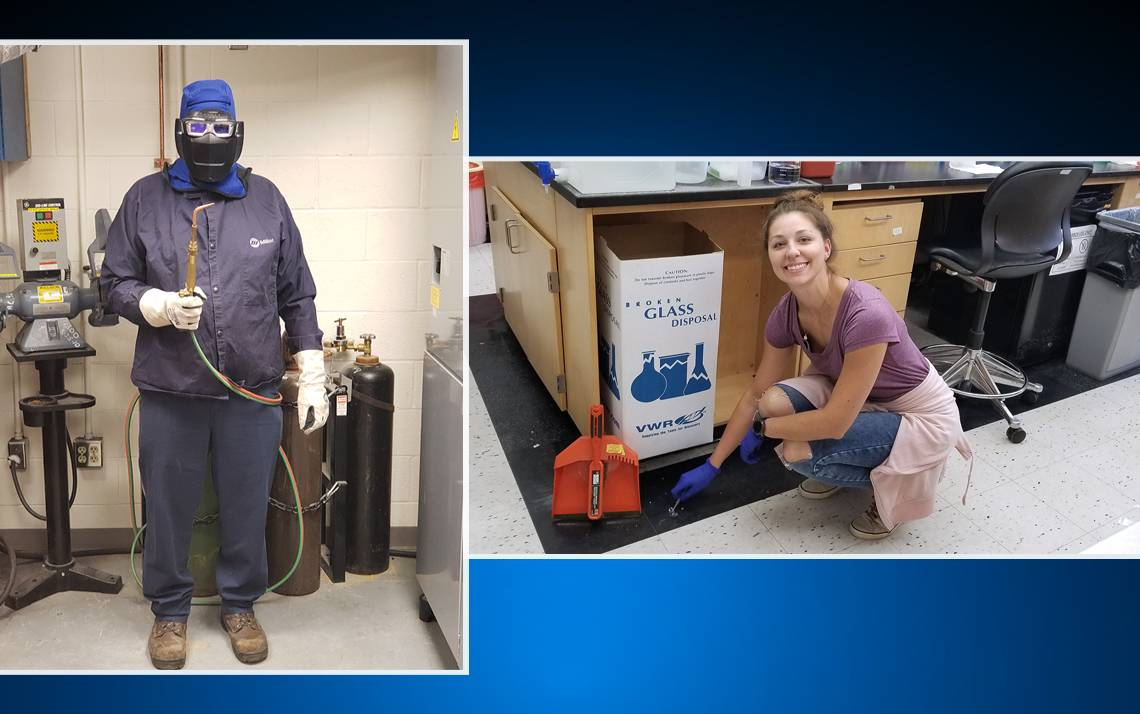 Greg Bumpass, left, and Lauren Macadlo, right, were the grand prize winners of Duke's National Safety Month challenge.