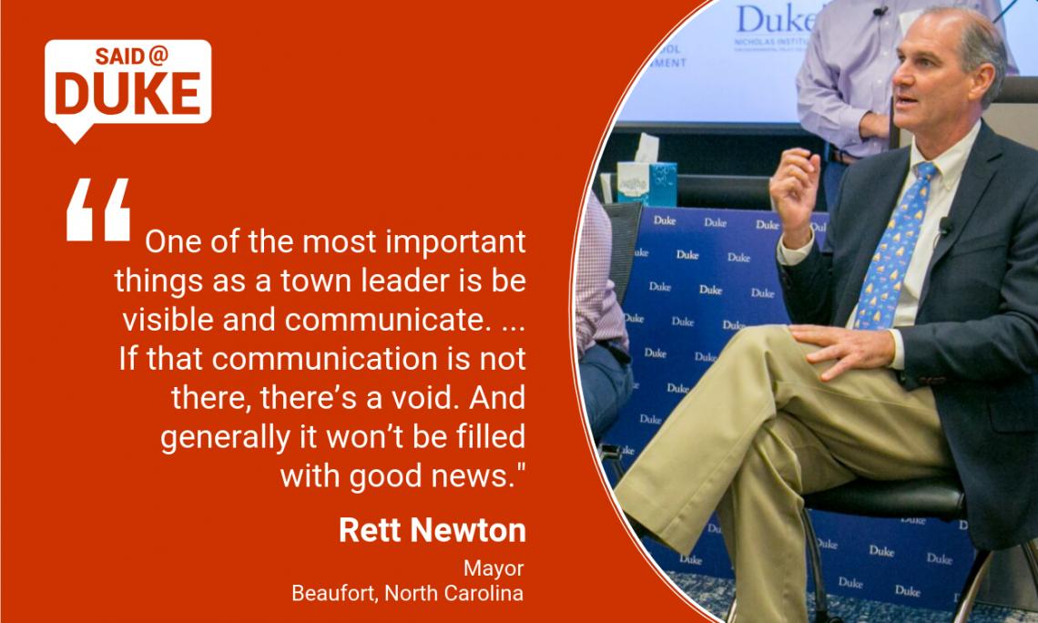 Said@Duke: Beaufort Mayor Rett Newton on Communicating in Storms
