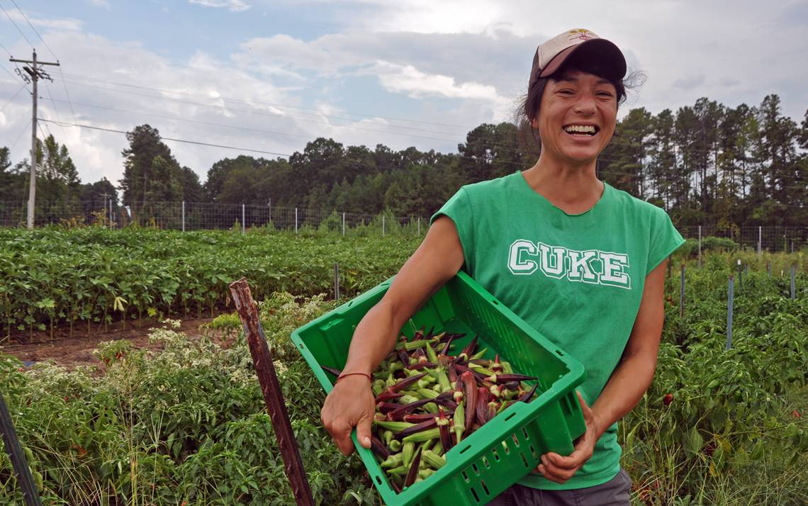 Saskia Cornes oversees the Duke Campus Farm, which grows a variety of produce year round. Photo by Bryan Roth.